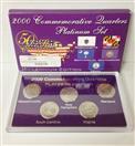 2000 Platinum Set Commemorative Quarters MA, SC, NH, VA, MD
